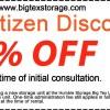 Big Texas Storage Senior Citizen discount coupon
