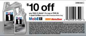 Printable Coupon at AutoZone for $10 OFF Mobil 1
