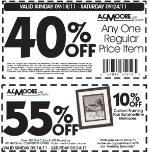 AC Moore Printable Coupon 40% OFF Anything and 55% OFF Frames