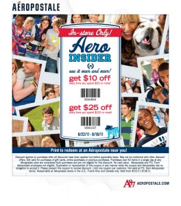 Aeropostale – $10 OFF $50 or $25 OFF $100