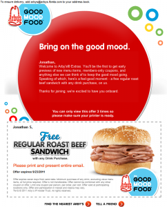 Arbys free roast beef sandwich coupon