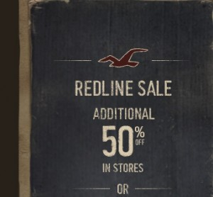 Hollister 40% OFF Redlines Online and 50% In Store Coupon