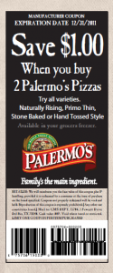 Palermos Pizza Save $1 off