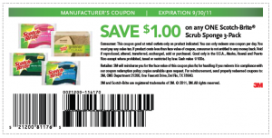Printable Coupon Save $1 on Scotch-Brite Scrub Sponge 3 Pack