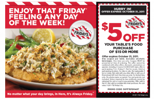 $5 OFF TGI Friday's!!!
