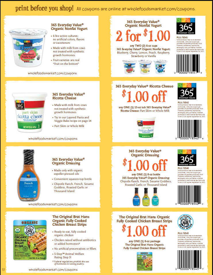 Organic food coupons free printable