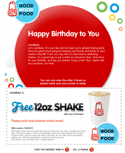 Arbys Free 12 oz Shake Printable Coupon