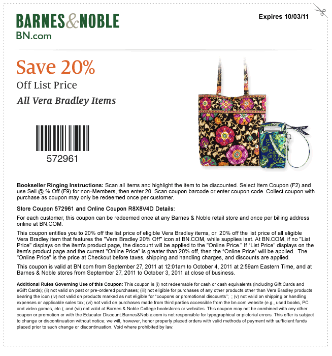 Save 20 Off All Vera Bradley At Barnes And Noble