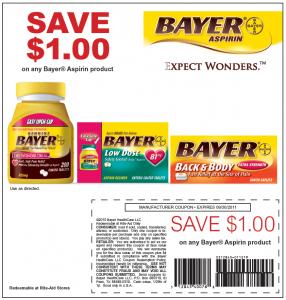 $1 OFF Bayer Aspirin Coupon at RiteAid