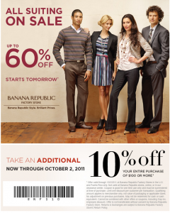 Printable Coupon Banana Republic 10% $100 or more!
