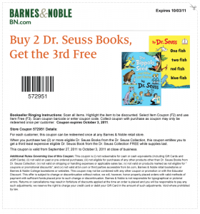Barnes and Noble Get 1 Free Dr. Suess Book Printable Coupon