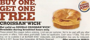 Burger King Printable Coupon Buy One Get One Croissan'wich