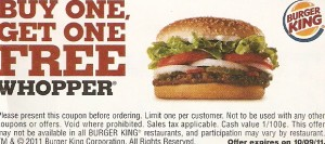 Burger King Printable Coupon Buy One get One Free Whopper