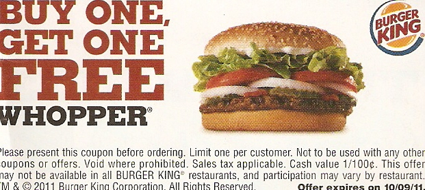 Burger king coupons whopper meal for two