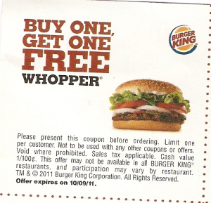 Burger King Coupon Buy One Whopper Get One Free