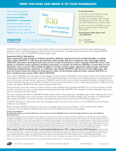 Chantix Printable Coupon Save $30 off Prescription