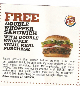 Burger King Printable Coupon Free Double Whopper With