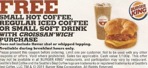 Burger King Printable Coupon Free Coffee with Purchase