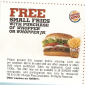 Burger King Free Small Fries with Purchase of Whopper
