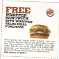 Burger King Free Whopper Sandwich with Whopper Value Meal Purchase