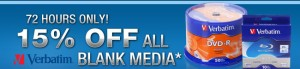 15% off All Blank Media by Verbatim 72 Hours Only at NewEgg