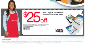 OfficeDepot Copy and Print Depot $25 off $50 or more Printable Coupon