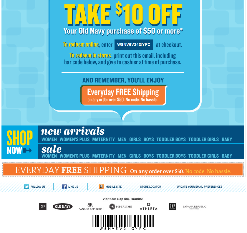 Take $10 OFF $50 at Old Navy! | Print Coupon King