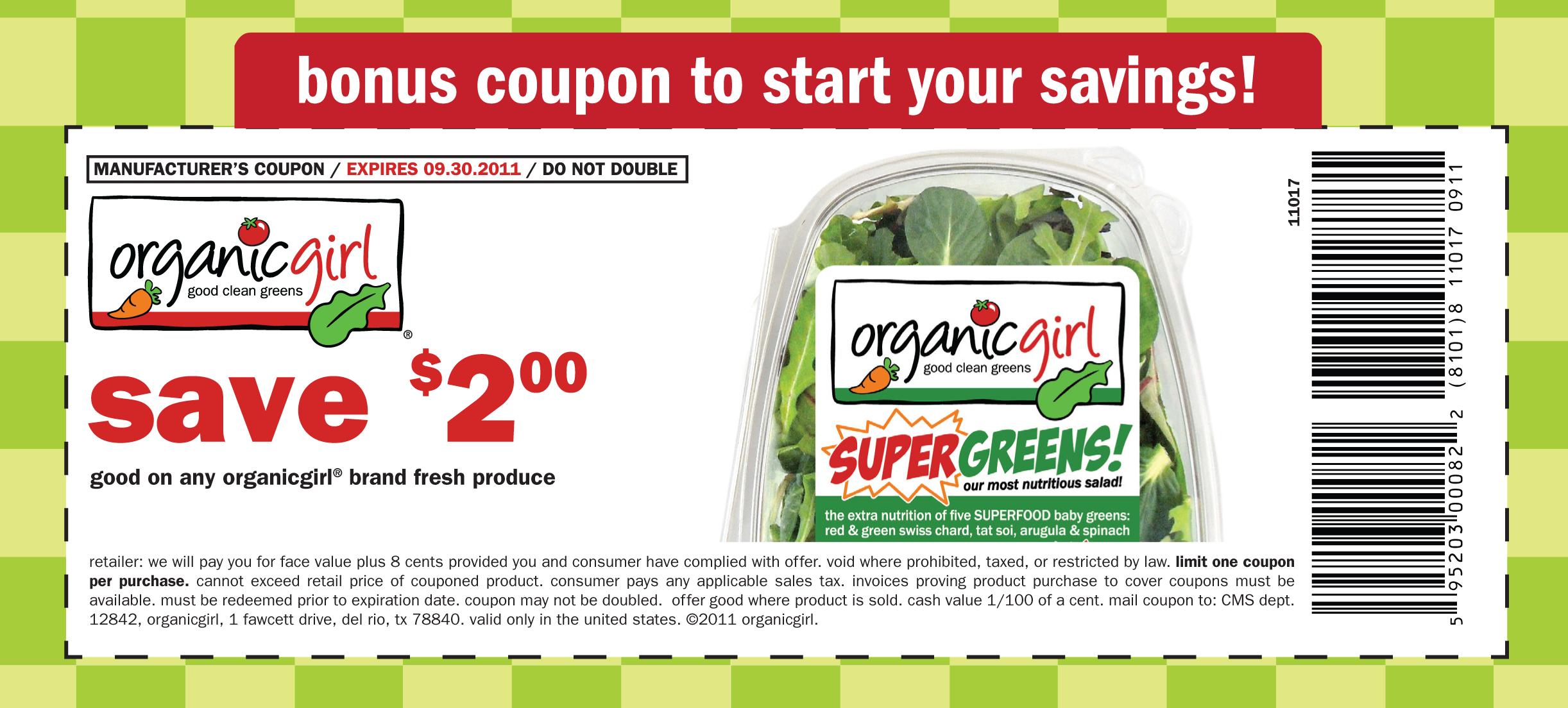 Organic printable coupons
