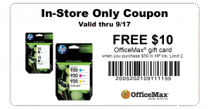OfficeMax Printable In-Store Coupon Save $20 on Ink And More!