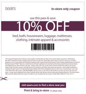 Sears 10% OFF Printable Coupon and Online Code