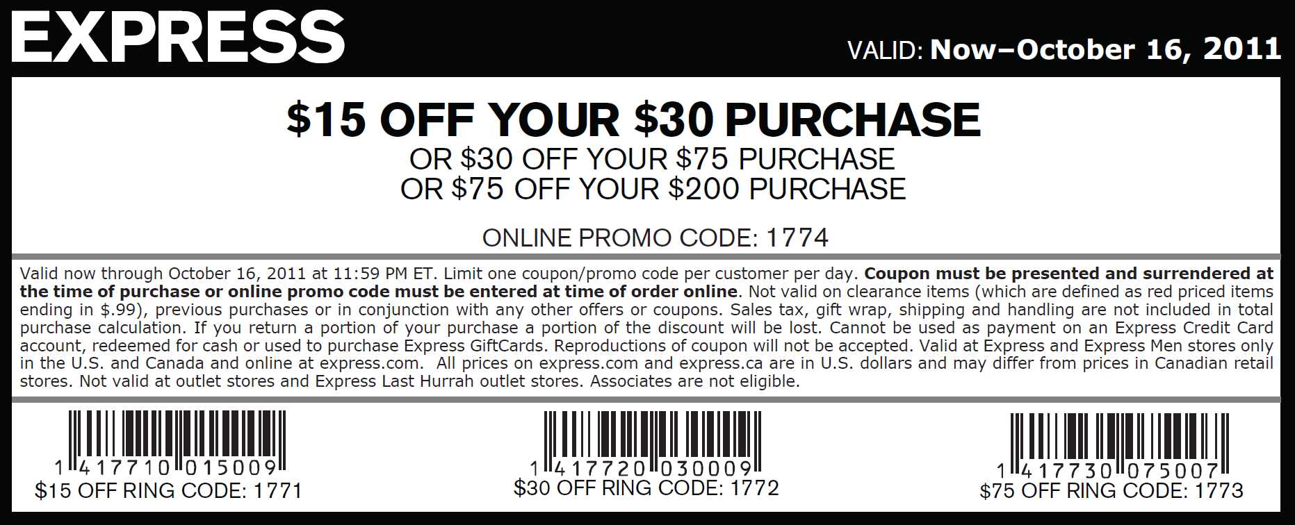 Express discount coupons