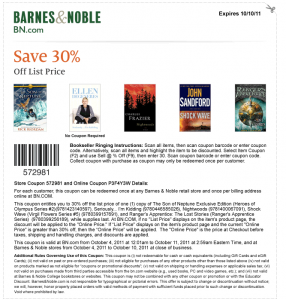 Barnes and Noble Printable Coupons and Online Codes to Save 30%