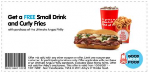 free curly fries and drink with angus philly coupon