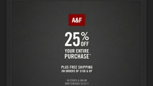 Abercrombie and Fitch Coupon Code 25% Percent OFF
