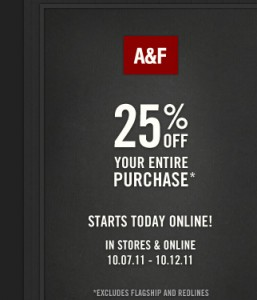 Abercrombie and Fitch 25% off Entire Purchase Coupon Code