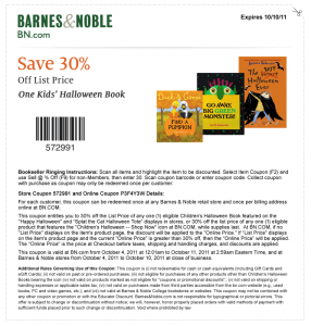 barnes and noble save 30 percent kids halloween book coupon