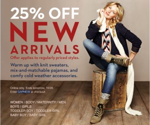 GAP New Arrivals Coupon Code 25% Percent OFF
