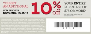 GAP 10% Percent OFF $75 Printable Coupon