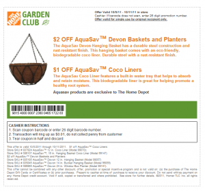homedepot coupon basket planter and liner