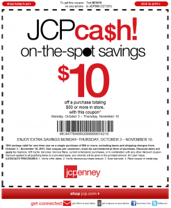 JC Penny $10 OFF Printable Online Phone Coupon