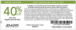 joann fabric and crafts 40 percent off single item coupon