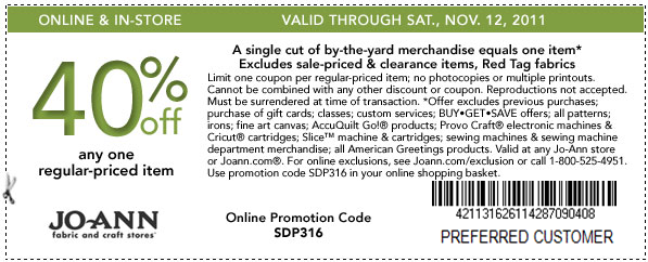 Joann 40 off coupon - Online Coupons