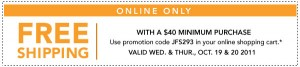 joann fabrics coupon free shipping