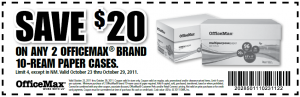 officemax $20 off case paper printable coupon code online