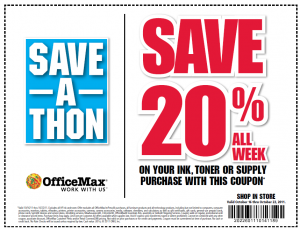 officemax save 20 percent on ink and toner supplies printable coupon