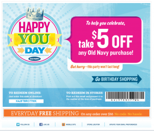 old navy $5 birthday coupon
