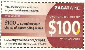 Zagat Wine Voucher Coupon for $100