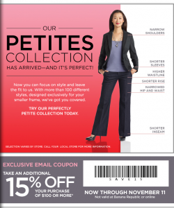 banana republice petites collection 15 percent off