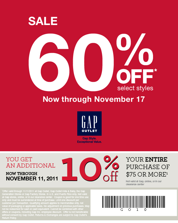 Discount applies to Gap-branded products only and excludes products that are not solely Gap-branded. Other online exclusions may apply. Online, offer is not combinable with other offers except for up to 3 Rewards. In stores, offer can be combined with up to 3 Rewards and with other offers, excluding Gap Inc. employee discount.