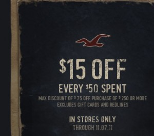 $15 OFF Hollister Coupon Code!